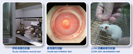 Acute inhalation toxicity test (Left picture) Acute eye irnitation test (Middle picture) LLNA skin sensitization tset (Right picture)